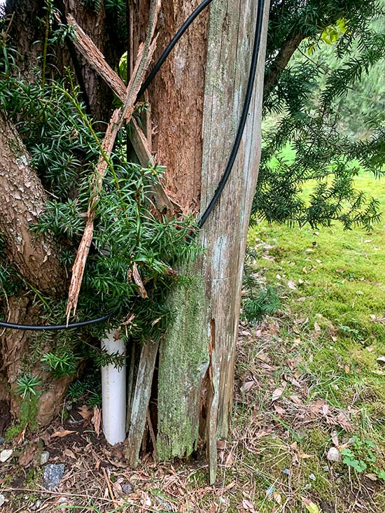 This old pole was rotten right through. We removed it and installed the new pole in the same hole