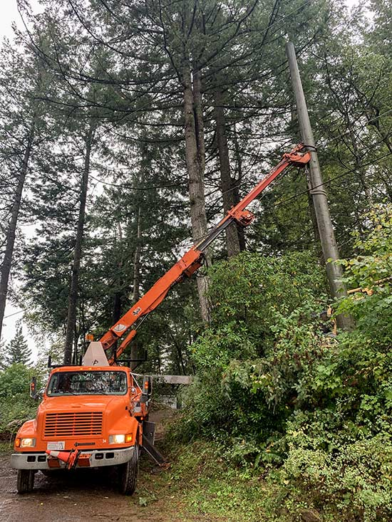 Installing a 45' pole for a client in Chilliwack